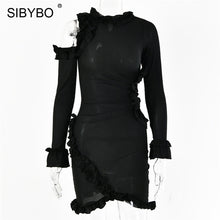 Load image into Gallery viewer, SIBYBO Ruffles Hollow Out Ribbed Sexy Dress Fashion Long Sleeve Mini Autumn Women Dress Solid Club Bodycon Party Dress