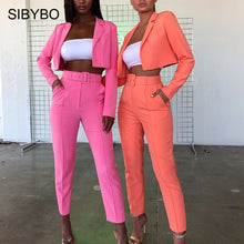 Load image into Gallery viewer, SIBYBO Autumn High Waist Casual Women Blazer Top and Pants Set Long Sleeve Sashes Sexy Two Piece Set Solid Pockets Women Set