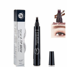 Load image into Gallery viewer, 4 Colors 3D Microblading Eyebrow Tattoo Pen 4 Fork Tips Fine Sketch Liquid Eyebrow Pencil Waterproof Eyebrow Tint Makeup TSLM2