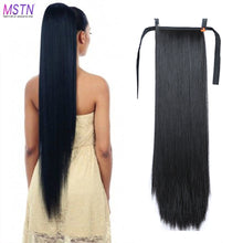 Load image into Gallery viewer, MSTN 30-Inch Synthetic Hair Fiber Heat-Resistant Straight Hair With Ponytail Hair  Extended Black Brown Headwear