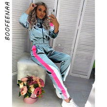 Load image into Gallery viewer, BOOFEENAA Satin Casual Sweat Suits Women Tracksuit Fall Outfit Jogging Matching Sets 2 Two Piece Crop Top Sweat Pant Set C0-AE64