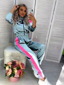BOOFEENAA Satin Casual Sweat Suits Women Tracksuit Fall Outfit Jogging Matching Sets 2 Two Piece Crop Top Sweat Pant Set C0-AE64