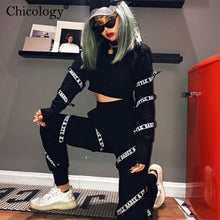 Load image into Gallery viewer, Chicology gothic streetwear crop top female high waist pants 2 two piece set 2019 autumn winter long sleeve punk women clothes