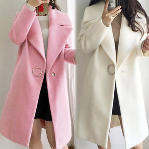 women long jacket ruffle warm winter coat Women turndown long coat collar overcoat female Casual autumn 2019 pink outerwear#g4