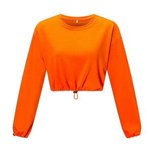 Brand New Women Hoodie Crop Top Long Puff Sleeve Loose Sweatshirt Cropped Jumper Pullover Female Ladies Street Wear