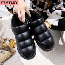 Load image into Gallery viewer, Women's snow boots winter boots ladies flat waterproof 2019 shoes Botas Mujer Botas femininas de inverno black large size