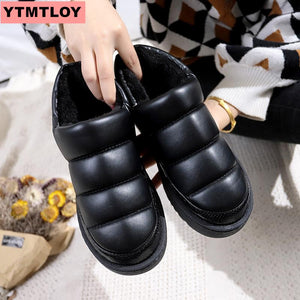 Women's snow boots winter boots ladies flat waterproof 2019 shoes Botas Mujer Botas femininas de inverno black large size