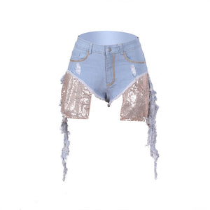 Sexy Summer Women Denim Side Hollow Out Short Jeans Wide Leg High Waisted  Taseel Bandage Shorts Hot Drillng Pocket Party Shorts