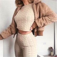 Load image into Gallery viewer, Umeko Slim Autumn Cotton Tracksuit Women 2 Piece Set Sweater Top+Pants Knitted Suit O-Neck Knit Set Women Outwear 2 Piece Set