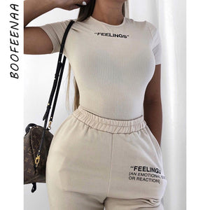 BOOFEENAA White Knit Embroidery Letter Short Sleeve Bodysuits Women Clothes Spring 2020 Sexy Body Suit Tops Ropa Mujer C71-I35