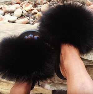 Real Raccoon Fur Slippers Women 2020 Sliders Casual Fox Hair Flat Fluffy Fashion Home Summer Big Size 45 Furry Flip Flops Shoes