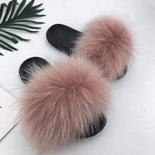 Load image into Gallery viewer, Real Raccoon Fur Slippers Women 2020 Sliders Casual Fox Hair Flat Fluffy Fashion Home Summer Big Size 45 Furry Flip Flops Shoes