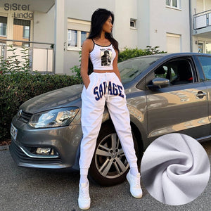 Sisterlinda Letter Print Streetwear Pant Women High Waist Drawstring Boot Cut Cargo Jogger Pants Dancing Trousers Mujer 2020 New