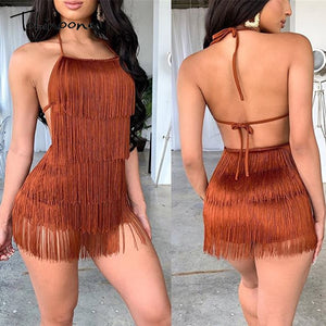 Tobinoone Tassel Summer Dresses Female Halter Backless Casual Club Mini Dress Sexy Fringe Bandage Bodycon Party Dress Vestidos