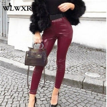 Load image into Gallery viewer, WLWXR Autumn Winter Pu Leather Pants Women Ladies Trousers 2019 High Waist Skinny Pants Female Black Pink Red Sexy Bodycon Pants