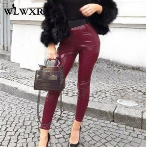 WLWXR Autumn Winter Pu Leather Pants Women Ladies Trousers 2019 High Waist Skinny Pants Female Black Pink Red Sexy Bodycon Pants