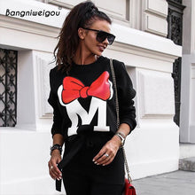 Load image into Gallery viewer, Bangniweigou Bow Print Autumn Winter Oversize Cartoon Sweatshirts Women Casual Loose Minimalism O Neck Black Gray Hoodies Femme