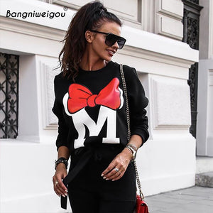 Bangniweigou Bow Print Autumn Winter Oversize Cartoon Sweatshirts Women Casual Loose Minimalism O Neck Black Gray Hoodies Femme