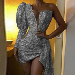Women Glitter Silver Party Club Mini Dress Asymmetric V-neck Bodycon Sheath Vestidos Sexy One Shoulder Dress #1216