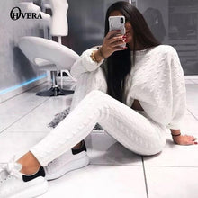 Load image into Gallery viewer, Ohvera Knitted 2 Piece Set Women Long Sleeve Crop Tops And Long Pants Sexy 2018 Winter Sweater Two Piece Set Outfits