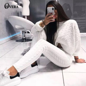Ohvera Knitted 2 Piece Set Women Long Sleeve Crop Tops And Long Pants Sexy 2018 Winter Sweater Two Piece Set Outfits