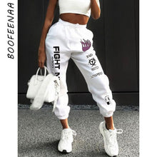 Load image into Gallery viewer, BOOFEENAA Letters Graffiti Print White Sweatpants Joggers Women Streetwear High Waist Harem Pants Casual Trousers C67-AF91