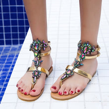 Load image into Gallery viewer, Woman Sandals 2019 Women Shoes Rhinestones Chains Thong Gladiator Flat Sandals Crystal Chaussure Plus Size 42 tenis feminino