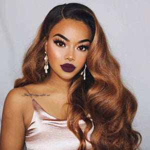 "Ombre Brown U Part Human Hair Wigs Body Wave Brazilian Remy Hair Right Side Part 1*4"" Two Tone Color For Black Women"