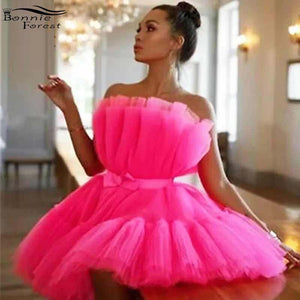 Bonnie Forest Elegant Pink Tulle Mini Dress With Belt Womens Sexy Off The Shoulder Mesh Ball Gown Celebrities Party Dress