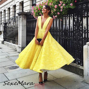 2019 Summer Elegant Deep V-neck Sexy Women Dress Fashion Lace Backless Maxi Party Dresses