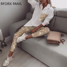 Load image into Gallery viewer, Sequin Long Sleeve Top & Pant Sets 2 Piece Set Women