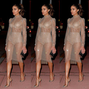 Women Sexy Sheer Mesh Long Sleeve Glitter Dress Evening Party Cocktail Cover Up