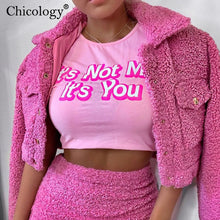 Load image into Gallery viewer, Chicology pink cotton letter print T-shirt sexy corp top short sleeve cute tshirt women 2019 autumn winter clothes streetwear