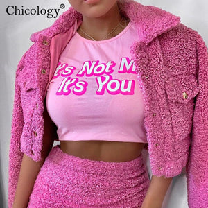 Chicology pink cotton letter print T-shirt sexy corp top short sleeve cute tshirt women 2019 autumn winter clothes streetwear