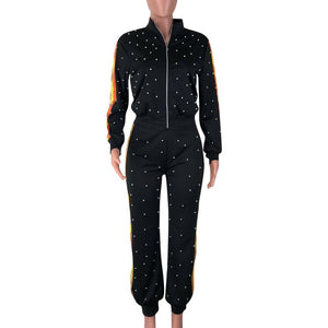 TWO PIECE SET Pearl Tracksuit Beads Long Sleeve Leisure Jogger Pants Women Sweat Suits Streetwear Lounge Wear Clothes Plus Size
