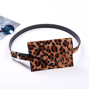 Women Leopard Waist Fanny Pack Holiday Money Belt Wallet Travel Bag Phone Pouch Hip Bum Bag Small Purse Mini Wallet 18x12cm