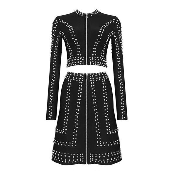 Winter sexy black rivet ladies set Bodycon long sleeve jacket and A-line skirt 2 piece set celebrity party women's suit