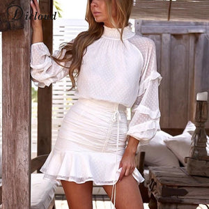 DICLOUD Elegant High Neck Women Ruffle Dress White 2020 Dot Long Sleeve Sexy Pleated Mini Party Bodycon Dress Spring Summer