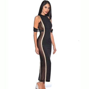 2020 Sexy Sleeveless Mesh Gauze Beaded Women's Long Jumpsuit Bodycon Celebrity Evening Party Female2020 Summer Fashion New