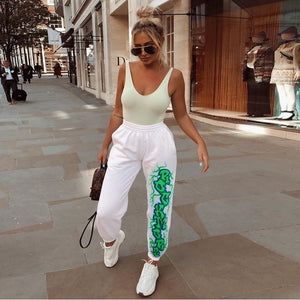 2019 Autumn Personality Letter Print Cool Ladies Hip Hop Casual Trousers Women High Waist Harem Pants Street Fashion Pantalons