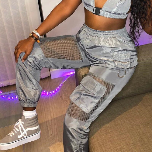 2019 Sexy Breathable Mesh Patchwork Pockets Sweat Pants Women Loose Casual Harem Trousers Grey Capris Mujer Cargo Pantalons