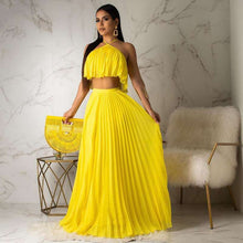 Load image into Gallery viewer, Echoine  Summer Chiffon Two Piece Long Dress Women Elegant 2 Piece Set Crop Top and Skirt Set Sexy Sleeveless Beach Party Outfit