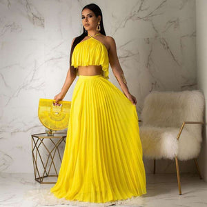 Echoine  Summer Chiffon Two Piece Long Dress Women Elegant 2 Piece Set Crop Top and Skirt Set Sexy Sleeveless Beach Party Outfit