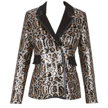 Load image into Gallery viewer, Ocstrade Gold V Neck Long Sleeve Mini Patterned Sequins Bodycon Suit Gold