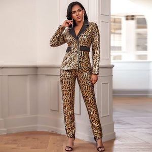 Ocstrade Gold V Neck Long Sleeve Mini Patterned Sequins Bodycon Suit Gold
