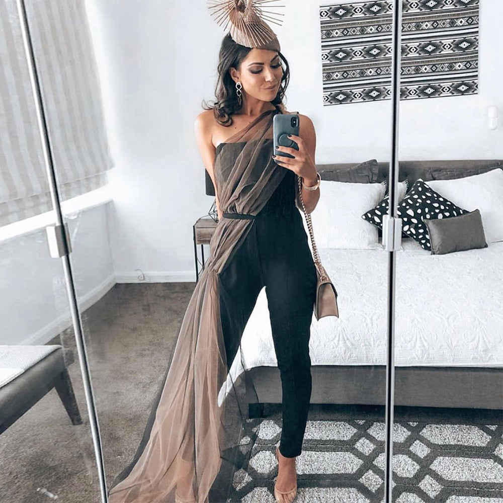 Ocstrade New Bandage Jumpsuit 2020 Women Sexy One Shoulder Black Bodycon Bandage Jumpsuit Celebrity Evening Party Club Jumpsuit