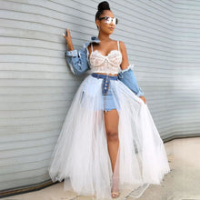 Load image into Gallery viewer, Echoine Denim Sheer Mesh Lace Patchwok Skirt Tulle Tutu Pleated Long White Skirt Sexy Club Outfits Denim Mini Skirts Streetwear