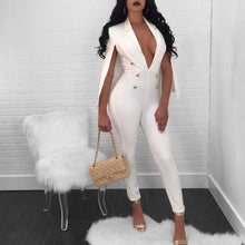 Load image into Gallery viewer, Clearance sale Double breasted Sexy Elegant Jumpsuit Women shawl V-neck Skinny Rompers Ladies Office Ladies OL playsuit overalls