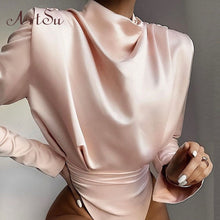 Load image into Gallery viewer, Artsu Elegant Satin Pink Blouse Long Sleeve Bodysuits Tops Women 2020 Spring New Romper Mujer Ladies Cute Shirts ASJU60703