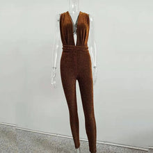 Load image into Gallery viewer, Bangniweigou Backless Lace-up Glitter Jumpsuit Sexy Low Cut High Waist Bandage Bodycon Rompers Women Sparkly Jumpsuit Clubwear